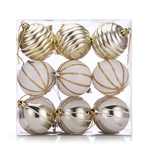 SANNO 18ct Christmas Balls Delicate Painting & Glittering Ornaments White/Silver/Gold Shatterproof for Holiday Wedding Party Decoration, 60mm/2.36