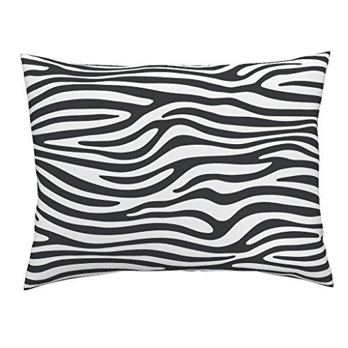 Roostery Zebra Euro Knife Edge Pillow Sham Zebra by Kimsa Natural Cotton Sateen made by (Sham Stripe Euro Safari)