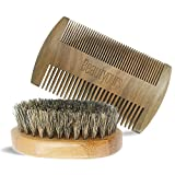 Beard Comb & Beard Brush Kit with carring bag for men - Handmade sandwood Comb and Natural Boar Bristle Beard Brush set for Beard & Mustache Shaping