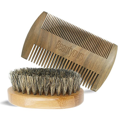 Beard Comb & Beard Brush Kit with carring bag for men – Handmade sandwood Comb and Natural Boar Bristle Beard Brush set for Beard & Mustache Shaping