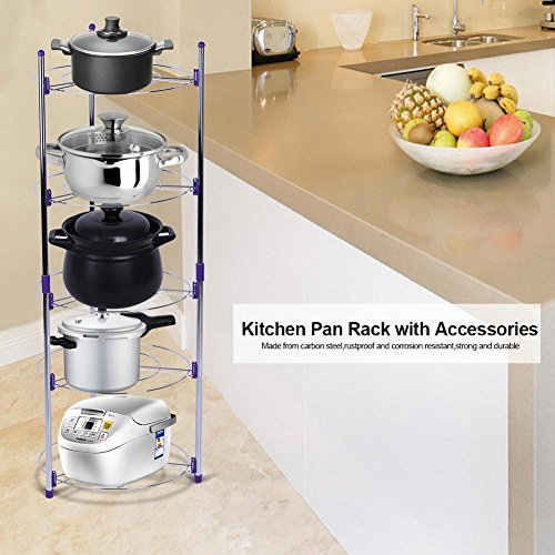 Cocoarm Cookware Stand,5 Tiers Round Shelf Storage Tower for Home Kitchen Pans Pots Storage Rack Durable Metal Wire Shelving Organizer