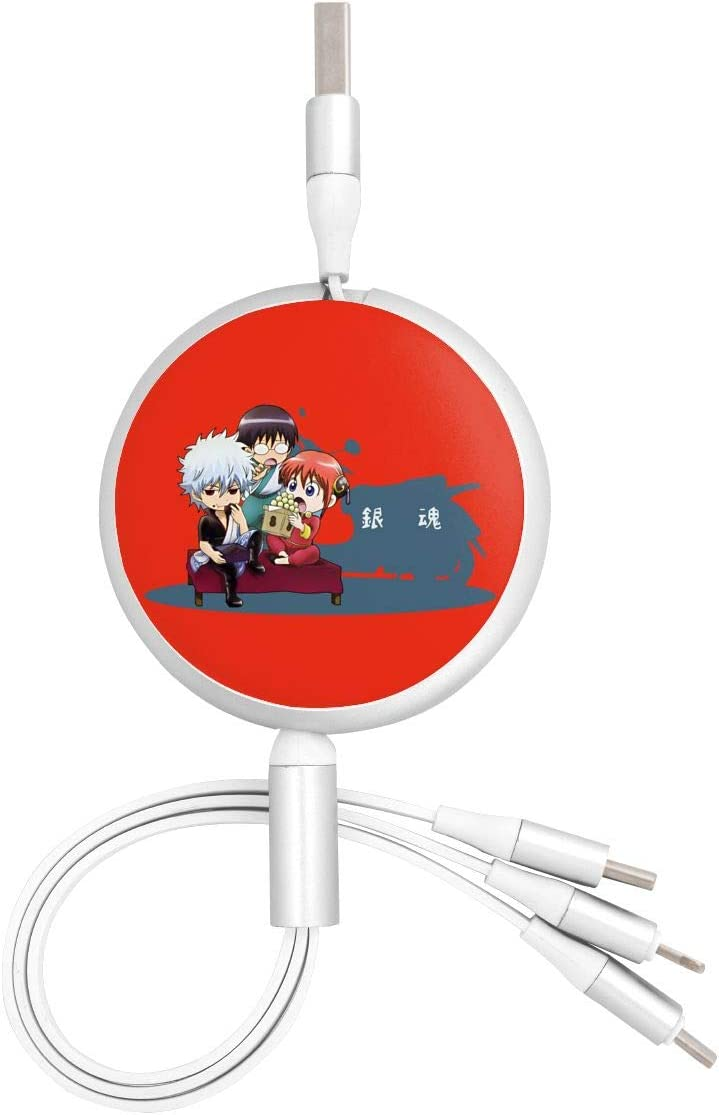 Pc Surface N//C Gintama Anime Round Three-in-One Charging Cable TPE Cable Aluminum Alloy Shell