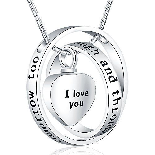 Father's Day Memorial Gifts - 'I Love You Through and Through' Urn Locket Pendant Necklace - Cremation Jewelry for Ashes - Birthday Memorial Keepsake Present for Sister Grandma Nana Mom Dad