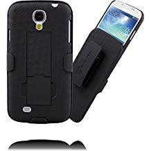 Samsung Galaxy S4 Belt Clip Case : Stalion Secure Holster Shell & Kickstand Combo (Jet Black) 180° Degree Rotating Locking Belt Swivel + Shockproof Protection (Not for S4 Active)