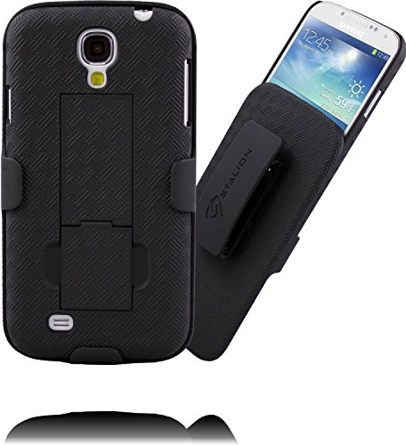 Galaxy S4 Case: Stalion Secure Shell & Belt Clip Holster Combo with Kickstand (Jet Black) 180° Degree Rotating Locking Swivel + Shockproof Protection - Kickstand Combo