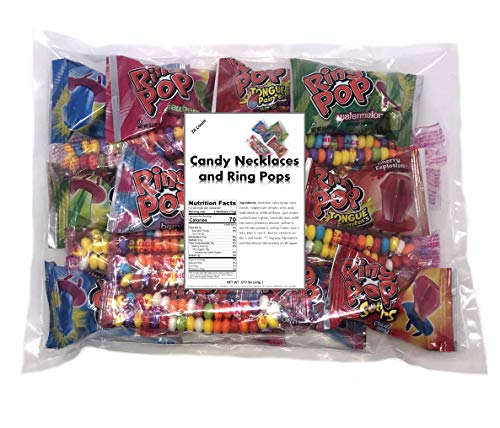 Candy Necklaces And Ring Pops 12 count each total 24 count, Individually Wrapped Assorted Bulk Candy