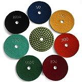Easy Light Diamond 4 Inch Wet Polishing Pads Sanding Tools 7 Pcs for Granite Marble Stone Grit 50-3000