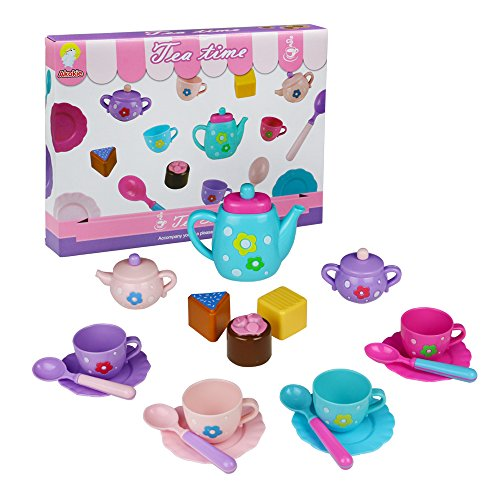 Tea Set Pretend Play Set Teapot Toy Role Play Girls Tea Set Great gift for kids childs 3+ Years old 18 PCS