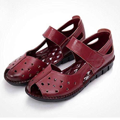 Mordenmiss Femmes Nouveau Peep Toe Velcro Multi Couleur Plat Sandales Style 3 Rouge