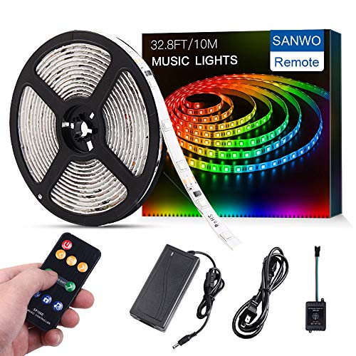 Change Color Lighting (Sanwo Led Strip Lights Music Sync, 32.8ft/10m Dream Color LED Light Built-in IC, RGB 300Leds SMD5050 Flexible Strip Lighting with Remote, Color Changing Led Strip Chasing Effect for Home Kitchen)