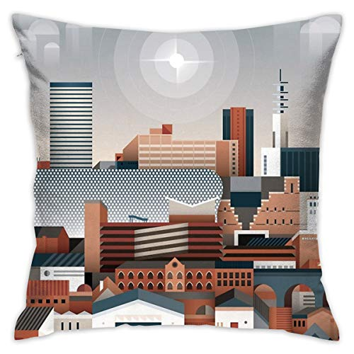 "Yoate Co. Birmingham Cityscape Home Decorative Throw Pillow Case Cushion Cover for Gift Home Couch Bed Car 18"" x18"""