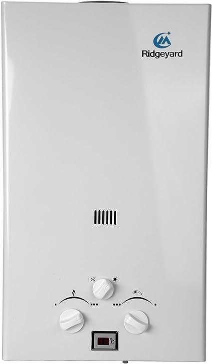 Iglobalbuy Calentador de agua a gas atmosférico sin tanque Calentador de agua a Gas GLP Butano Propano (10L)