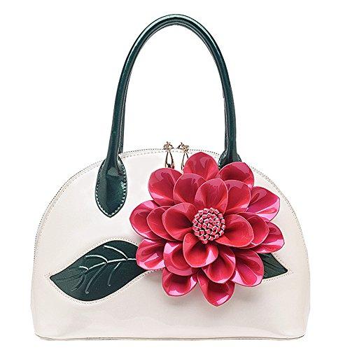 Meaeo Brevetto Tracolla Borsetta Borse Pelle Casual Donna Messener White Borse Rosa Borse Ladies Nuovo Bag HwaanxrU
