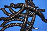 Set of 8 Vintage-Look Nautical Furniture Restoration Hardware, Rope Drawer Pulls Handles Cast Iron 7 1/2 inch Center to Center Space, HW-15