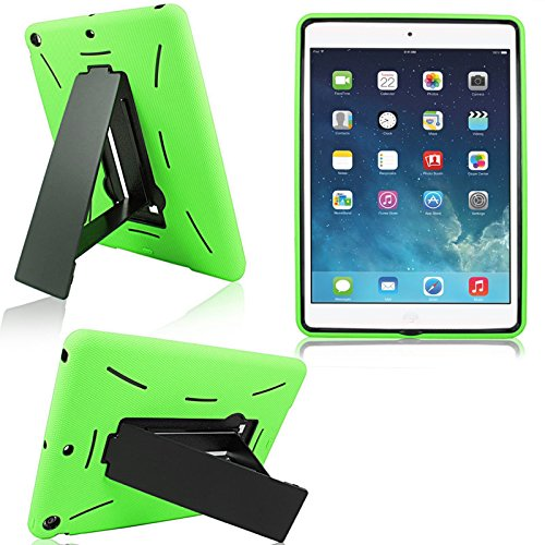 Cellularvilla Kickstand Case for Apple iPad Air (iPad 5 5th Generation) Green Black Hybrid Armor Hard Soft Kickstand Case Cover Protector with Stand