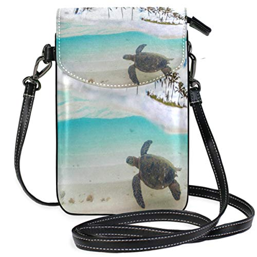 Phone Purse Mini Cell Phone Pouch Hawaiian Palm Tree Sea Turtle for Women -
