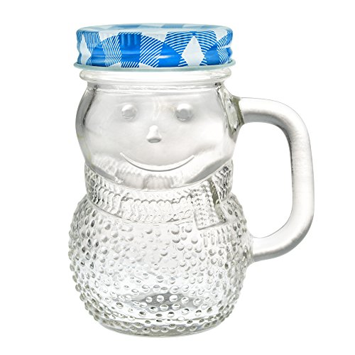 Mini Mason Jars 5 Ounce - Snowman Decorative Glass Bottle with Classic Checkered Lid - Cute Condiment Bottles and Kitchen Supplies (Blue, 4)
