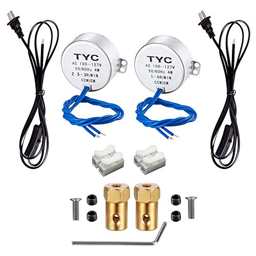 Synchronous Turntable Electric Motor for Cup Turner,Cuptisserie, Tumbler Cups Rotator with 7mm Flexible Coupling Connector,50/60Hz AC100~127V 4W CCW/CW for Crafting, - Motor Brass