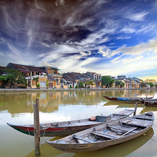 Panoramic 500 Piece Puzzle - 500 Piece Jigsaw Puzzle: Hoi An Boats in the foreground Vietnam