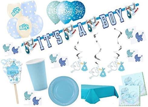 Party Fiesta Set Baby baby shower Niño Azul para 12 personas 85 piezas Puller Fiesta bebé recién nacido Baby Party Juego completo de Mesa Decorativo Fiesta ...