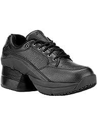 Z-CoiL Pain Relief Footwear Mens Legend Slip Resistant Enclosed Coil Black Leather Tennis Shoe