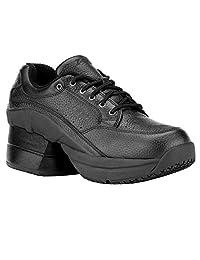 Z-CoiL Women's Legend Slip Resistant Enclosed CoiL Black Leather Tennis Shoe