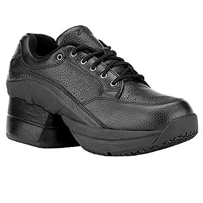Z-CoiL Women's Legend Slip Resistant Enclosed Coil Black Leather Tennis Shoe 6 C/D US