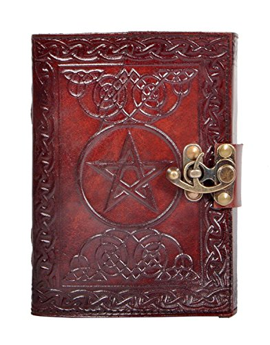 New Pentagram Leather Journal Geniune Handmade Pentacle Wicca Witch Craft Spell Book Celtic Notebook & Blank Paper Dairy (7 Inch)