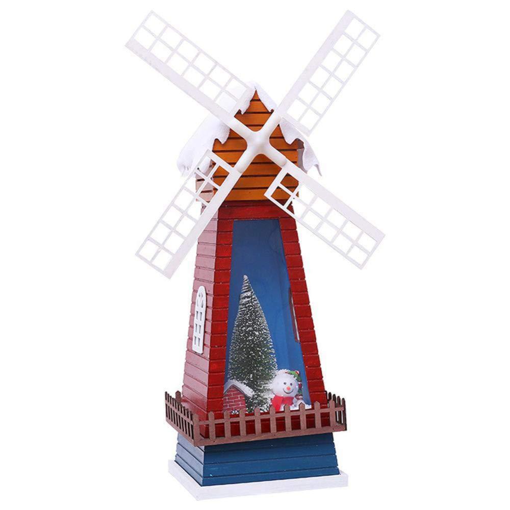 ZWYK Weihnachtsschmuck Mit Musik Elektro Schnee Simulation WindmüHle Hotel Mall Weihnachten Baum Szene Layout Dekoration
