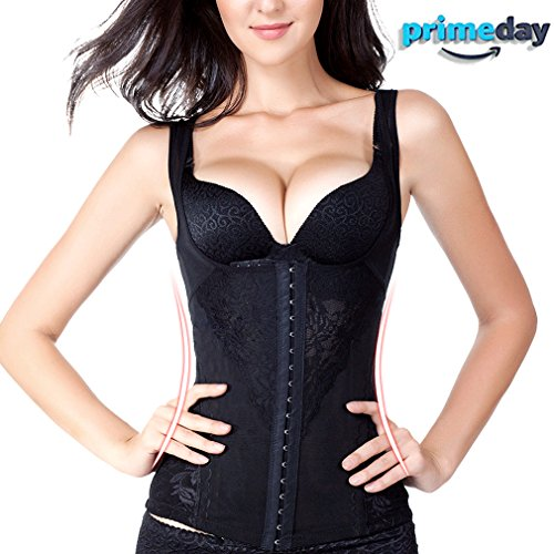 Waist Trainer Vest Waist Trainer Corset Shapewear Adjustable Elastic Waist Trainer for Women Weight Loss (Black, XL) by Wenns
