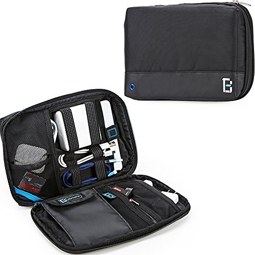 Universal Portable Electronics (BGTREND Electronic Travel Organizer Universal Cable Cord Storage Bag Water Resistant with Custom Portable Charger Pocket for iPad Mini Hard Drive SD TF Card, Black … (Basic))