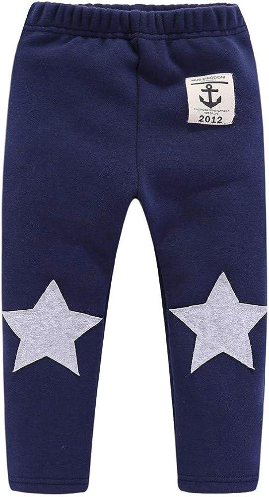Mud Kingdom Little Boys Fleece Pants Tight Fit Star