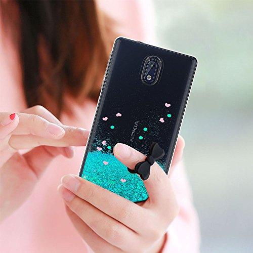 Funda Nokia 3 Purpurina Carcasa con HD Protectores de Pantalla, LeYi Mujer Brillante Liquida Ballistic Cristal Transparente TPU Gel Ultrafina 3D Silicona Fundas Case Carcasas Para Movil Nokia 3 ZX Azu ZX Nokia 3 Turquoise