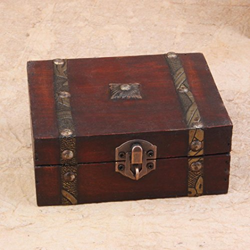 Iuhan Decorative Trinket Jewelry Storage Box Handmade Vintage Wooden Treasure Case