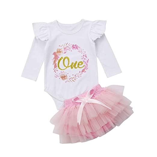 fb197ea9288 Newborn Infant Baby Girl 1st Birthday Outfit Flutter Sleeve Romper Bodysuit  Tops+Tutu Shorts Clothing