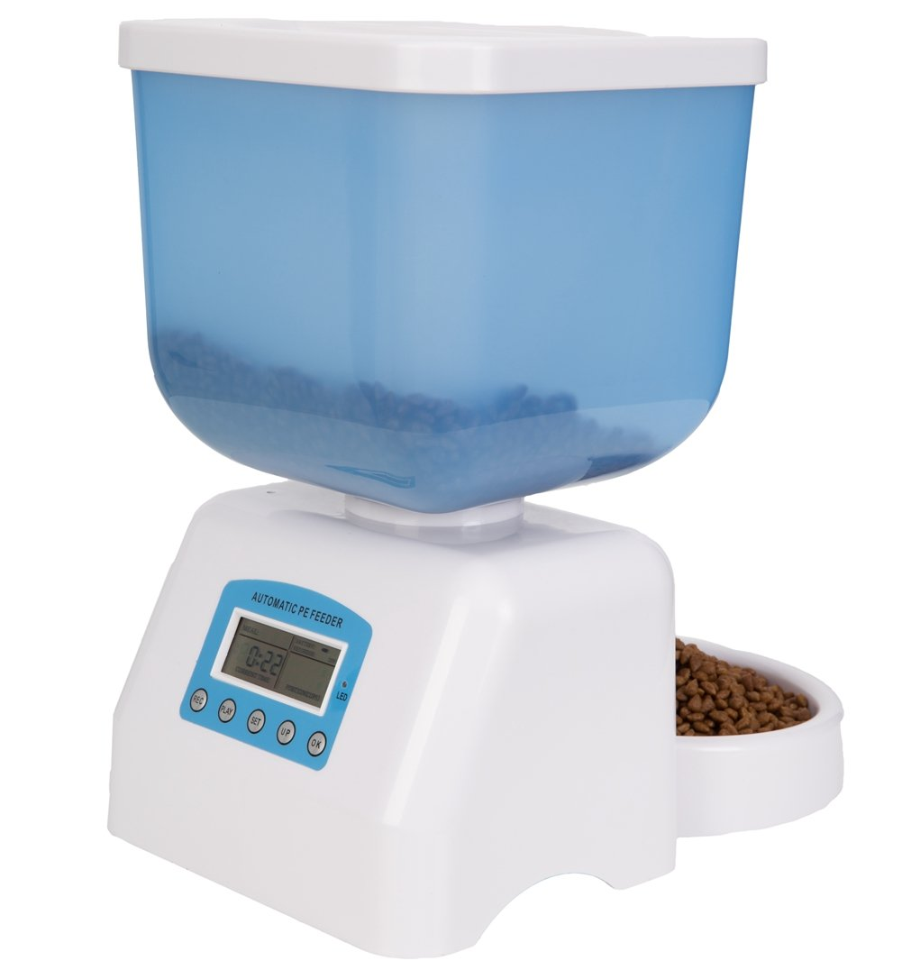 DecoStain Programmable Automative Pet Feeder for Cat,Dog,Rabbit and other Small Animals with Voice Reminding.Dual Power Supply,LCD Display (Capacity 5L)