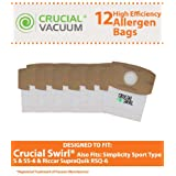 12 Crucial Swirl Micro Lined Vacuum Bags, Also Fits Simplicity Sport Type S, SS-6 & Riccar SupraQuik RSQ-6, Designed and Engineered by Crucial Vacuum