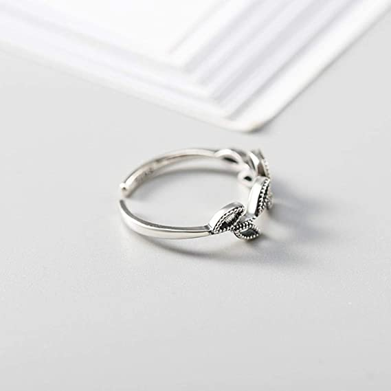 Luziang S925 Sterling Silver Retro Simple Hollow Leaf Ring-Romantic Fashion Design