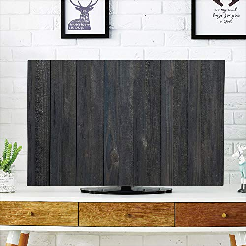 LCD TV dust Cover Customizable,Dark Grey,Wood Fence Texture Image Rough Rustic Weathered Surface Timber Oak Planks Decorative,Dark Grey Blue,Graph Customization Design Compatible 50