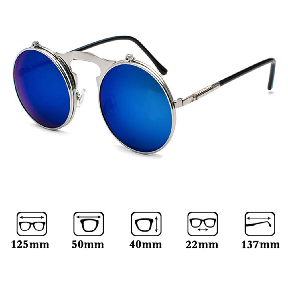 WEIMEITE Flip Up Sunglasses Classic Steampunk Uomo Donna Occhiali da sole Metal Vintage Glasses UV400