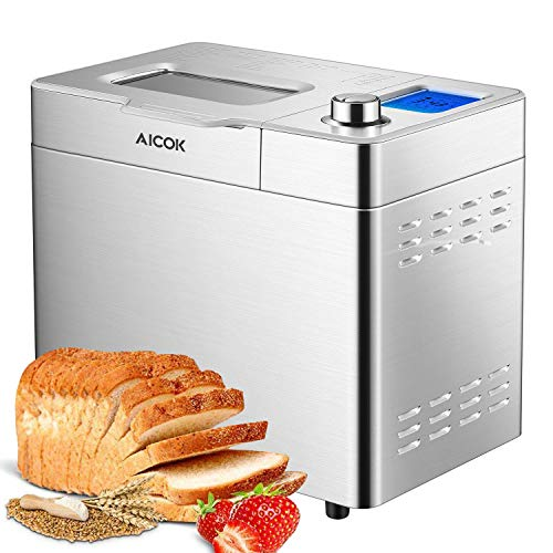 Automatic Bread Maker, Aicok 2 Pound Bread Maker Machine with Gluten Free Menu setting, 25 Programs, Large LED Display, One-Knob-Operation, Fruit&Nut Dispenser, FDA Certified, Fully Stainless Steel