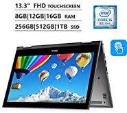 "2019 Dell Inspiron 5000 Premium 13.3"" 2-in-1 Touchscreen Laptop, Intel Core i7-8550U up to 4.0GHz, 8GB