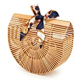 USBAGTECH Women Bamboo Handbag Handmade Art Tote Purse Handle Straw Beach Clutch