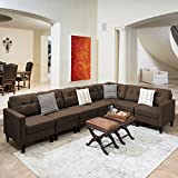 Emma Mid Century Modern 7 Piece Dark Brown Fabric Extended Sectional Sofa