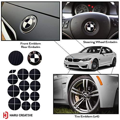 Haru Creative - Vinyl Overlay Aftermarket Decal Sticker Compatible with and Fits All BMW Emblem Caps for Hood Trunk Wheel Fender (Emblem Not Included) - 4D Carbon Fiber Black ()