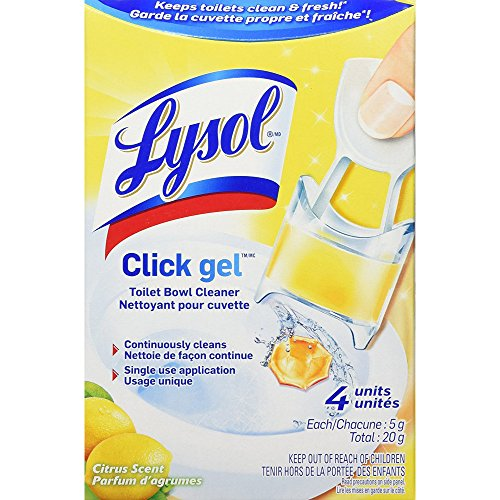 (Lysol Click Gel, Continuous Cleaning Toilet Bowl Cleaner, Citrus, 4 Count)