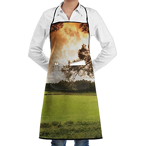 Tree Golf Course Sport Apron Lace Unisex Mens Womens Chef Adjustable Polyester Long Full Black Cooking Kitchen Aprons Bib With Pockets For Restaurant Baking Crafting Gardening BBQ (Golf Bbq Sports Apron)