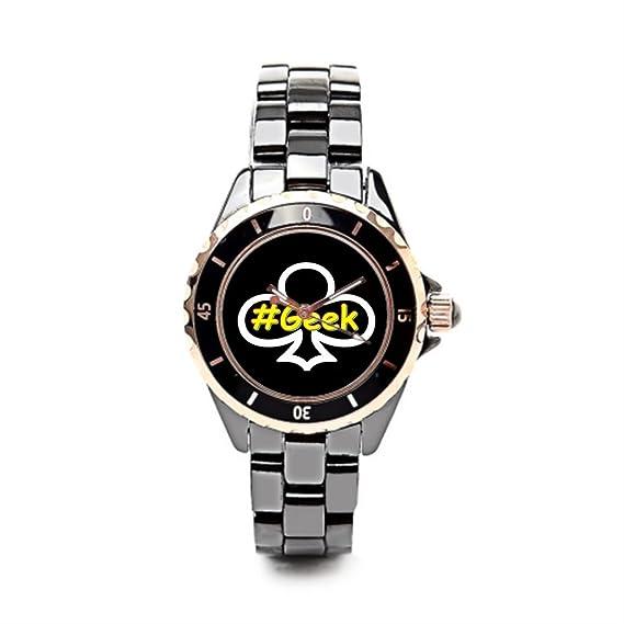 eleganceelegant Vintage relojes Instagram cerámica reloj mujer negro/oro las mujeres