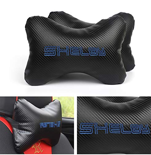 Gooogo 2Pcs Leather Carbon Fiber Leather Sport Car Seat Shelby Neck Rest Pillow Foam Headrest Travel Cushion Travel Sleeping Cushion for F150 Mustang