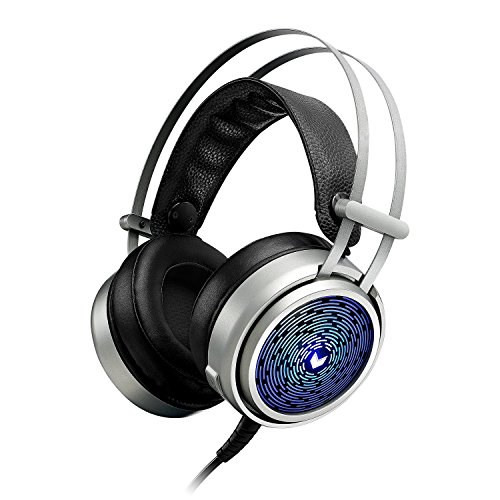 RAPOO Gaming Headset Stereo Lightweight Headphones Over-Ear Headset with Hidden Micr, Blue LED Backlight, Volume Control, Flexible Headband Compatible with Windows, Mac OS for PC, Computer-Silver